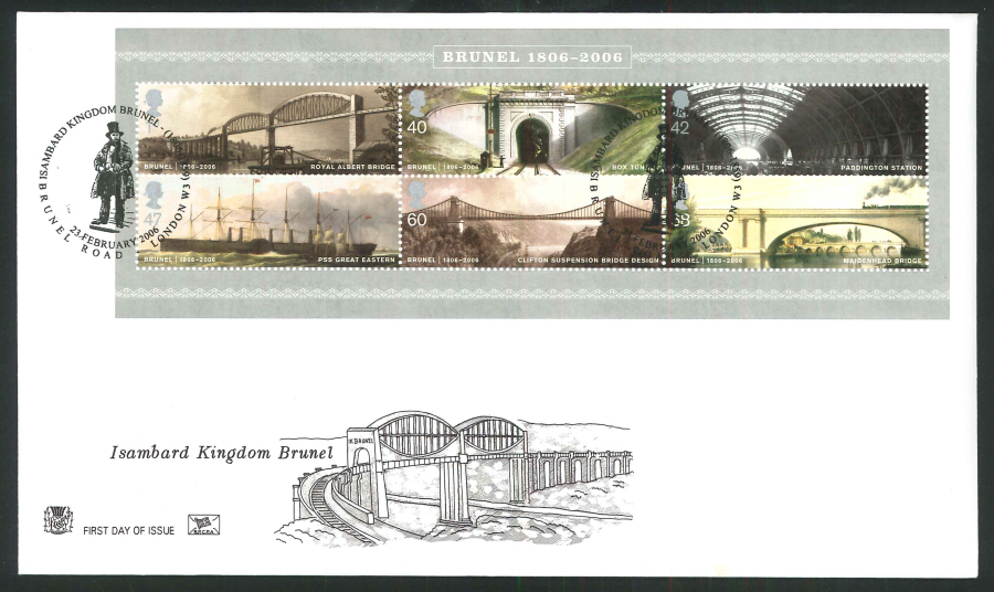 2006 Brunel First Day Cover Mini Sheet - Brunel Road, London W3 Postmark