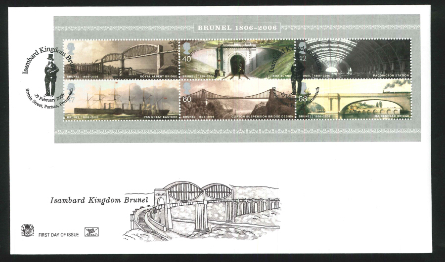 2006 Brunel First Day Cover Mini Sheet - Portsea, Portsmouth Postmark