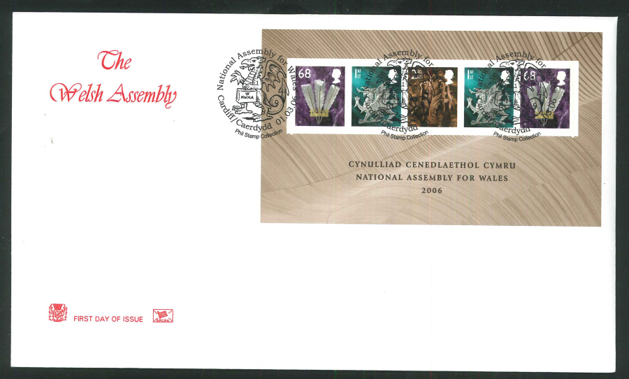2006 Welsh Assembley First Day Cover Mini Sheet - Cardiff/Caerdydd Postmark