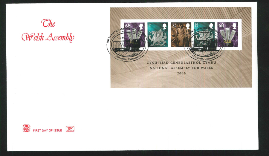 2006 Welsh Assembley First Day Cover Mini Sheet - Llanberis, Caernarfon Postmark