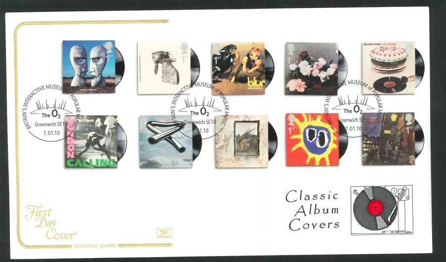 2010 Classic Album Covers First Day Cover, O2 Greenwich Postmark