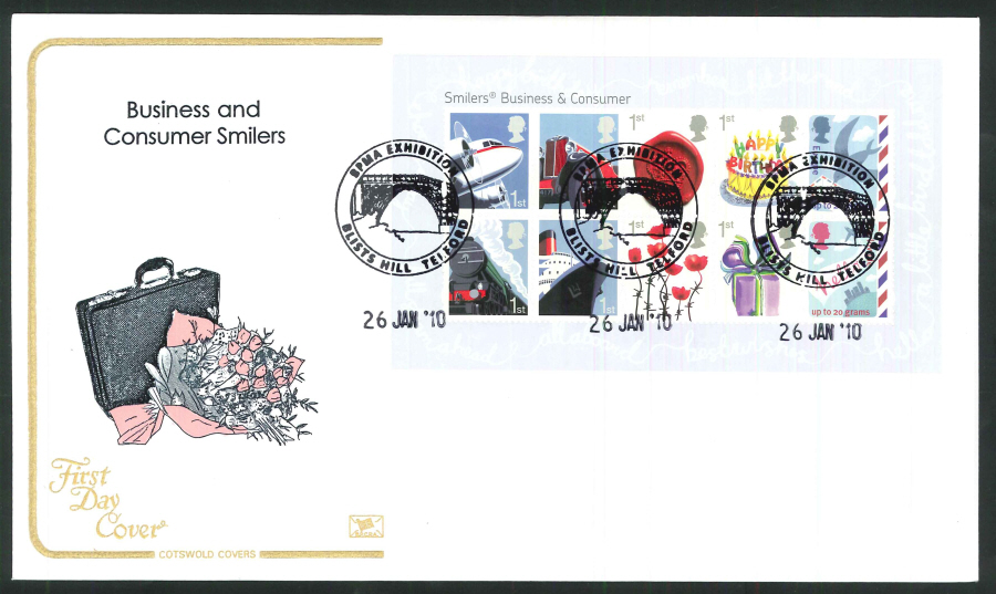 2010 Business and Consumer Smilers First Day Cover, Blists Hill, Telford Postmark