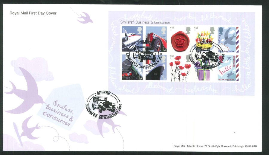2010 Business and Consumer Smilers First Day Cover, London W2 Postmark