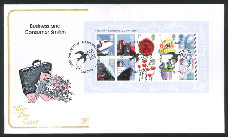 2010 Business and Consumer Smilers First Day Cover, Happy Valley Malvern Postmark