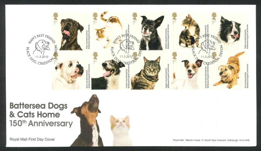 2010 Battersea Dogs & Cats First Day Cover, Black Dog, Devon Postmark