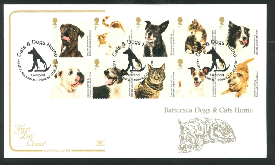 2010 Battersea Dogs & Cats First Day Cover, GBFDC Association, Halewood Postmark