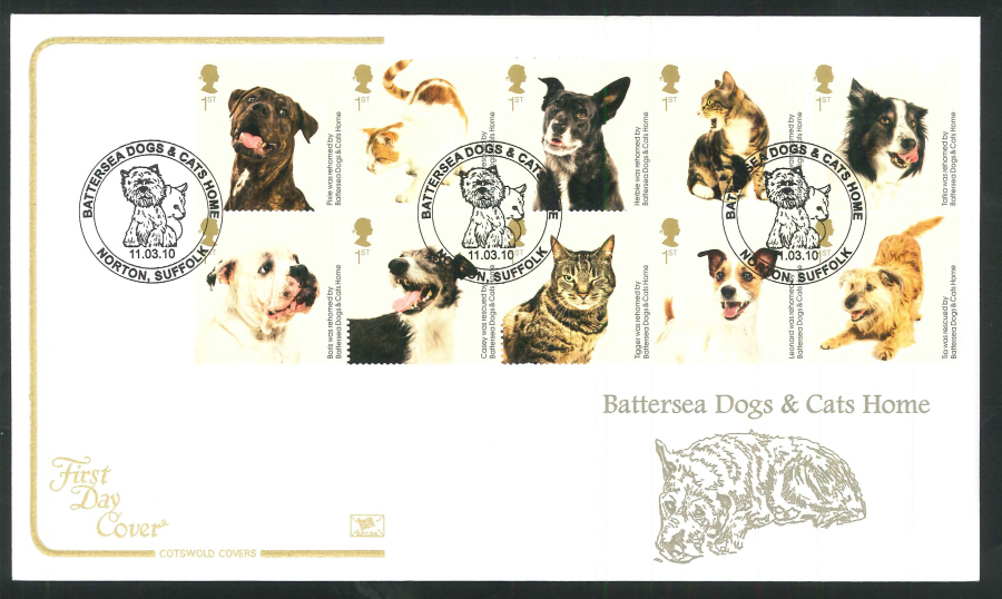 2010 Battersea Dogs & Cats First Day Cover, Norton, Suffolk Postmark