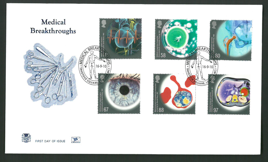 2010 Stuart F D C Medical Breakthroughs Tavistock Square London WC1 Postmark