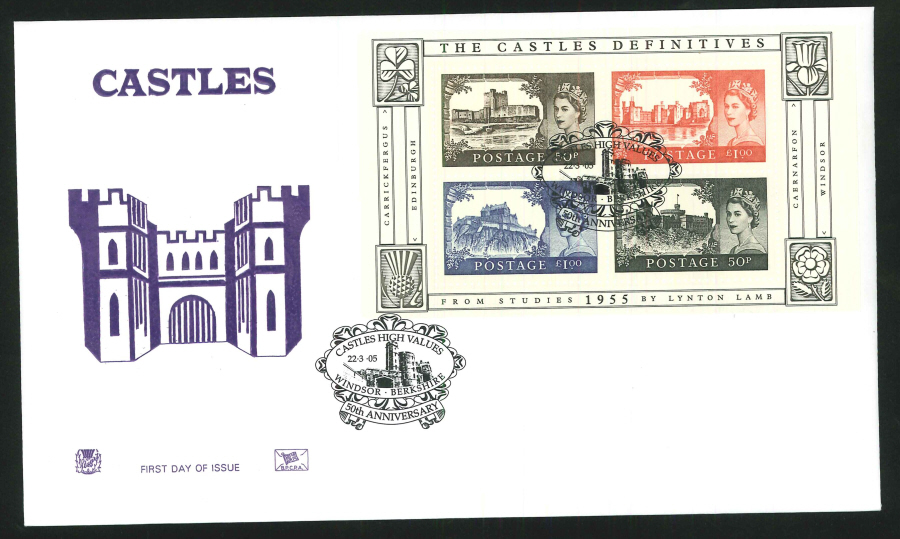 2005 Castle High Values FDC Windsor Handstamp