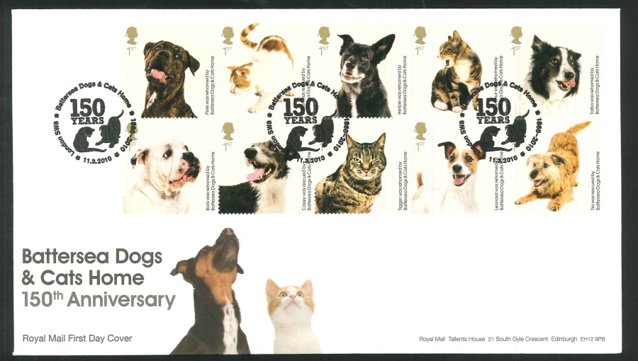 2010 Battersea Dogs & Cats First Day Cover, 150 Years London SW8 Postmark