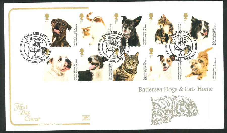 2010 Battersea Dogs & Cats First Day Cover, London SW8 Postmark