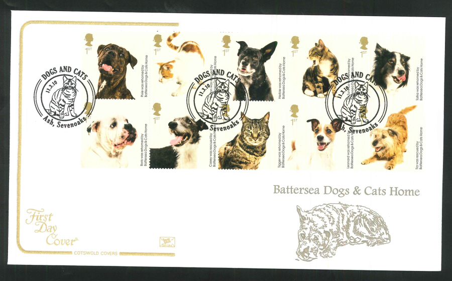 2010 Battersea Dogs & Cats First Day Cover, Ash, Sevenoaks Postmark