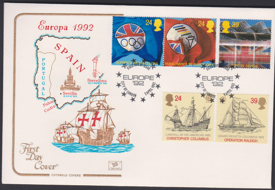 1992 - Europa First Day Cover COTSWOLD - Europe 92 City of London Postmark
