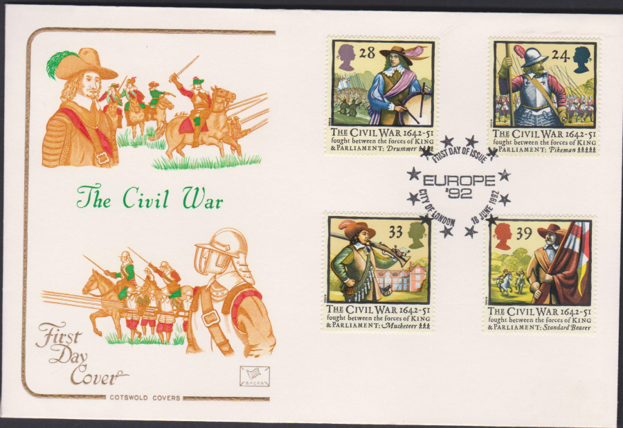 1992 - English Civil War First Day Cover COTSWOLD - Europe 92 City of London Postmark