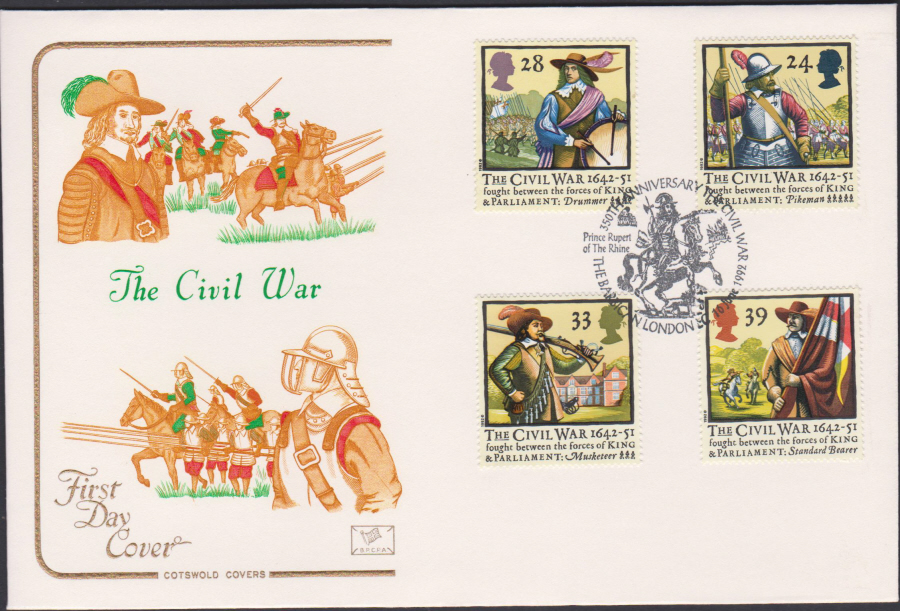 1992 - English Civil War First Day Cover COTSWOLD - Barbican London EC Postmark