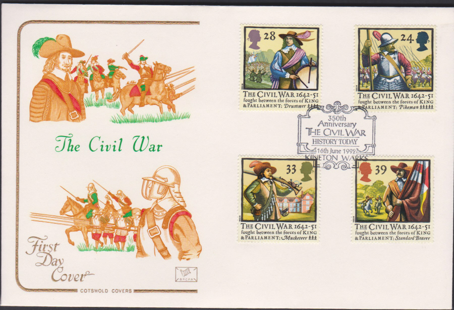1992 - English Civil War First Day Cover COTSWOLD -History Today Kineton,Warks Postmark