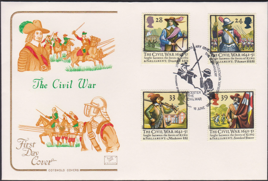 1992 - English Civil War First Day Cover COTSWOLD - Worcester in the Civil War Postmark