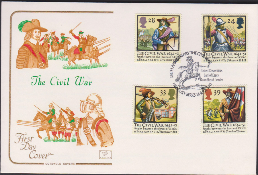 1992 - English Civil War First Day Cover COTSWOLD - Newbury,Berks Postmark