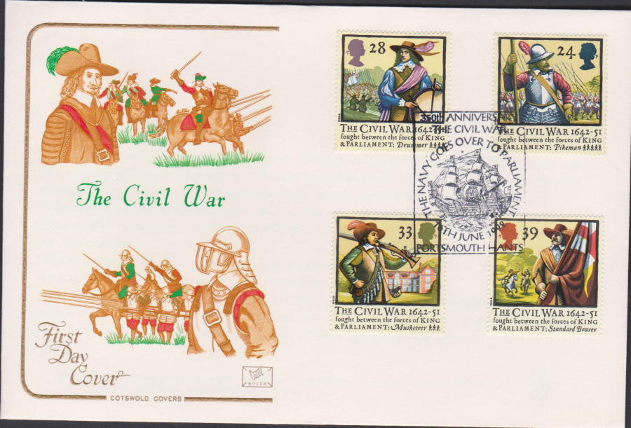 1992 - English Civil War First Day Cover COTSWOLD - Portsmouth Postmark
