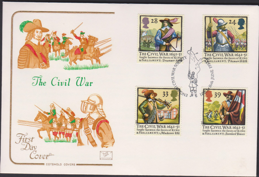 1992 - English Civil War First Day Cover COTSWOLD - Civil War Society Hull Postmark