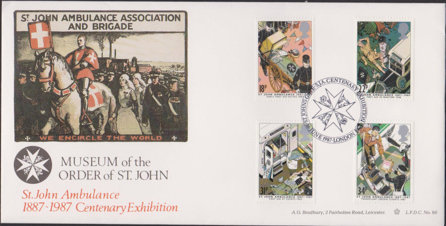 1987 -St.John Ambulance First Day Cover- Official Exhibition London Postmark-