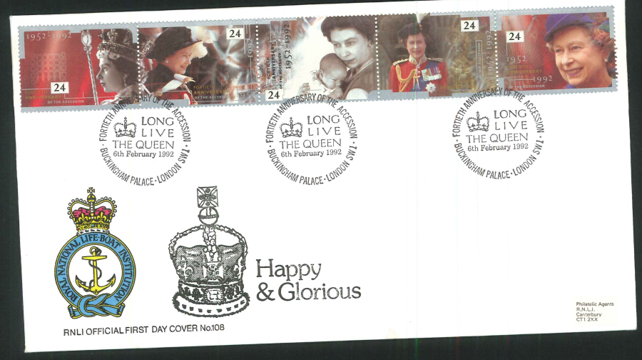 1992 - Happy & Glorious First Day Cover (R.N.L.I.)- Buckingham Palace Postmark