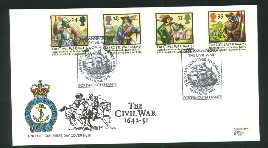 1992 - English Civil War First Day Cover (R.N.L.I.)- Portsmouth Postmark