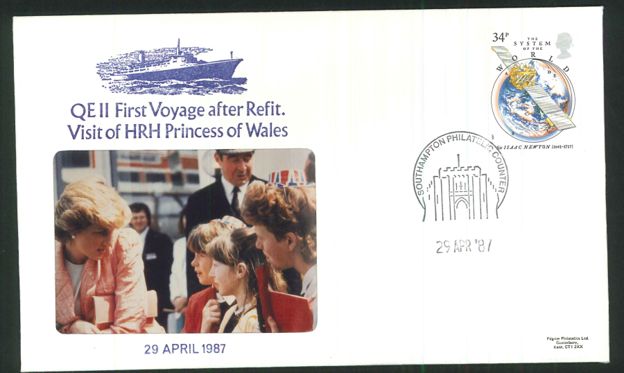 1987 - QEII First Voyage after Refit Commemorative Cover- Southampton Postmark