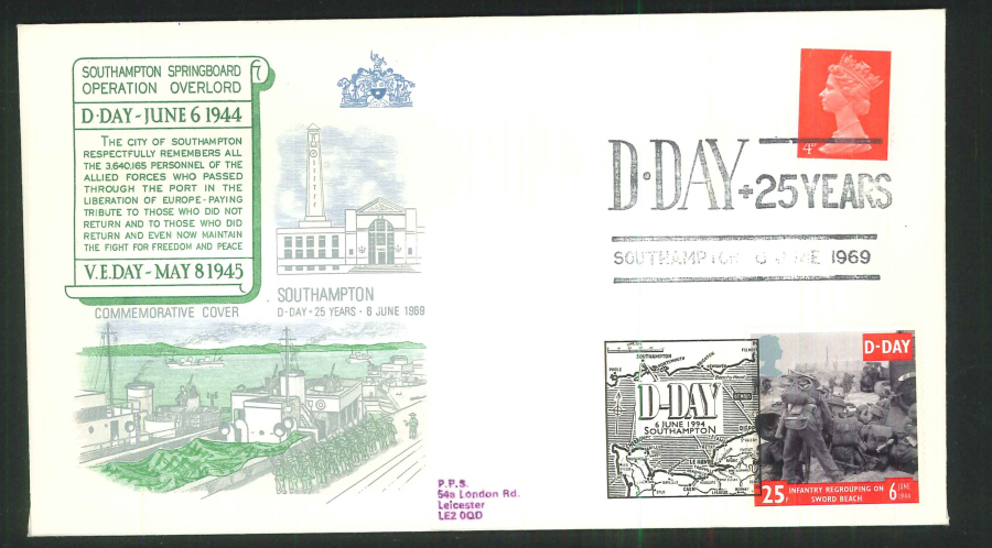 1969- D Day 25 Years Commemorative Cover - Southampton Postmark