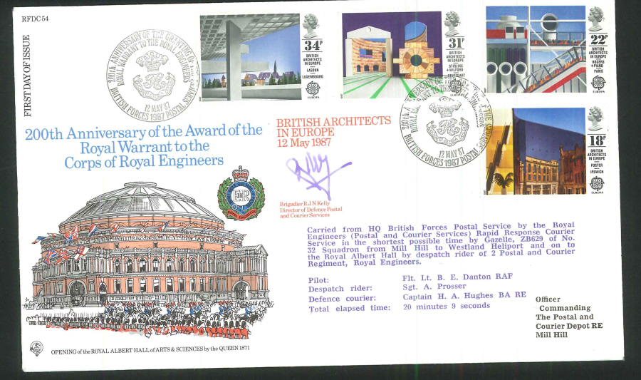1987 - British Architects in Europe First Day Cover - BFPS 1987 Postmark- Signed