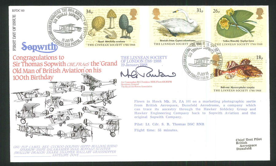 1988 - Linnean Society First Day Cover- BFPS 2158 Postmark- Signed (Certified copy no. 0027 of 1350)