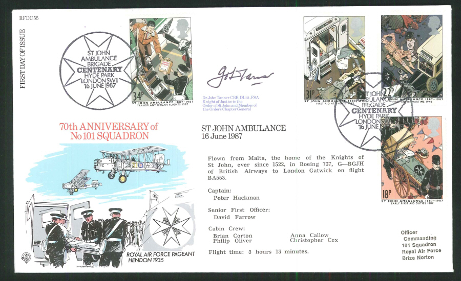 1987 -St.John Ambulance First Day Cover- Hyde Park London Postmark- Signed (Certified copy no. 0563 of 1400)