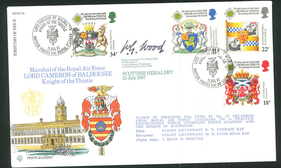 1987 - Scottish Heraldry First Day Cover - BFPS 2144 Postmark- Signed (Certified copy no. 1065 of 1400)