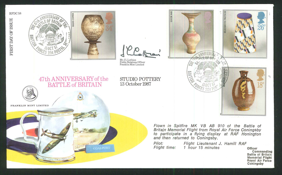 1987 - Studio Pottery First Day Cover - BFPS 2154 Postmark- Signed (Certified copy no. 0915 of 1350)