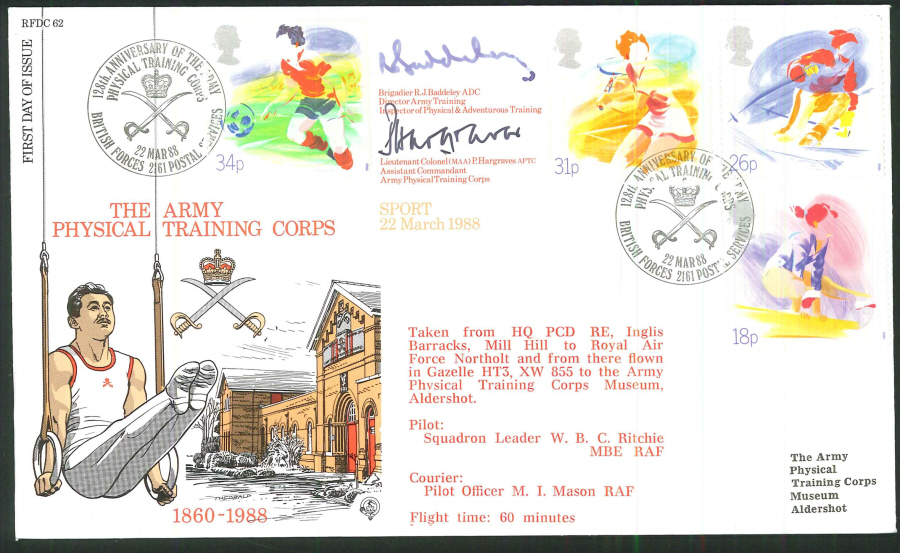 1988 - Sport First Day Cover - BFPS 2161 Postmark- Signed (Certified copy no. 0990 of 1500)
