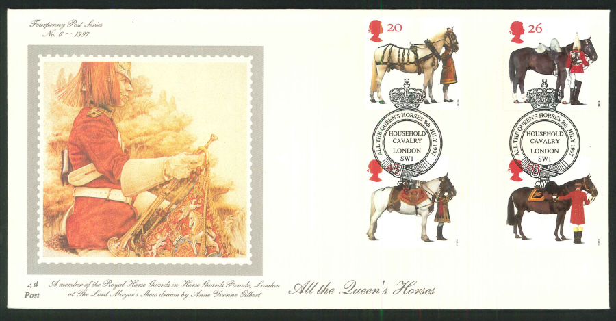 1997 - All the Queen's Horses First Day Cover - Household Cavalry London SW1 Postmark