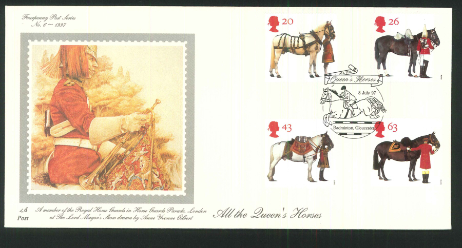 1997 - All the Queen's Horses First Day Cover - Badminton Gloucester Postmark