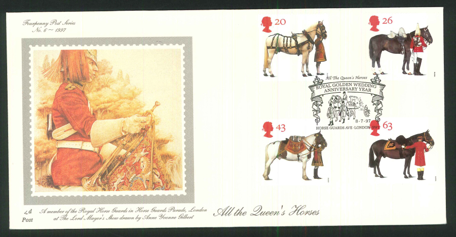 1997 - All the Queen's Horses First Day Cover - Horse Guards Avenue Postmark
