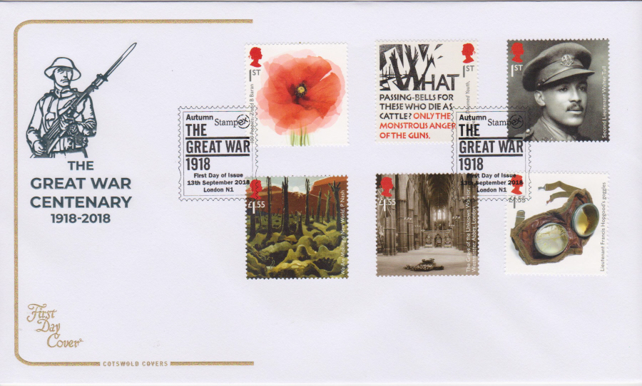 2018 Cotswold FDC - The Great War Autumn Stampex FDI London N1 London Postmark