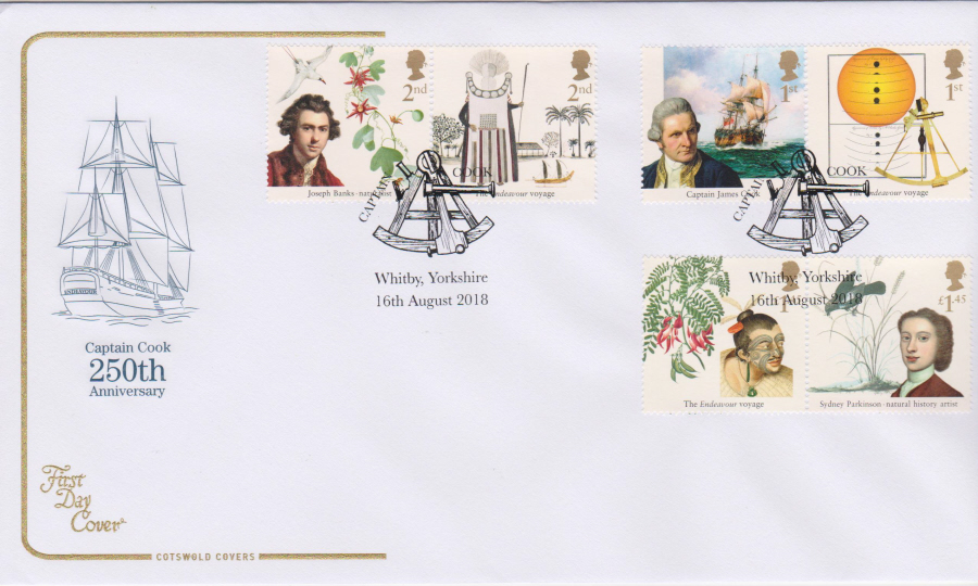 2018 Cotswold FDC - Captain Cook Set Whitby Yorkshire Postmark