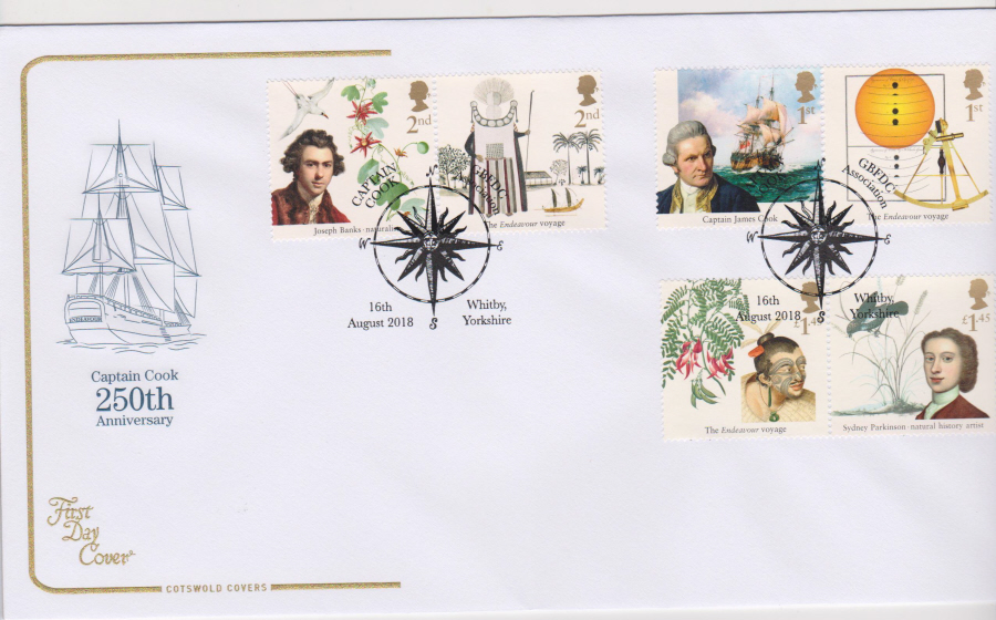 2018 Cotswold FDC - Captain Cook Set Whitby Yorkshire Diff Postmark