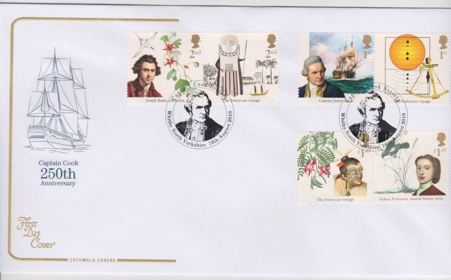 2018 Cotswold FDC - Captain Cook Set Whitby North Yorkshire Postmark