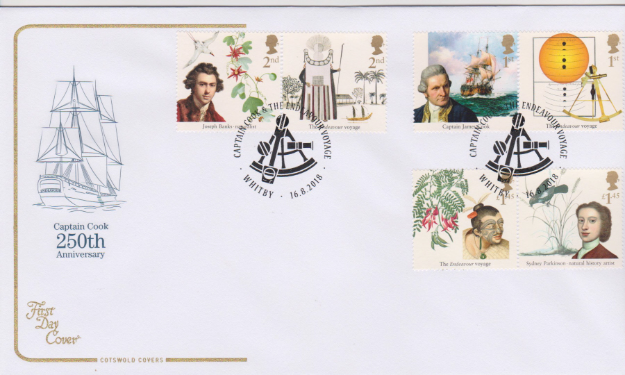 2018 Cotswold FDC - Captain Cook Set Voyage Whitby Yorkshire Postmark