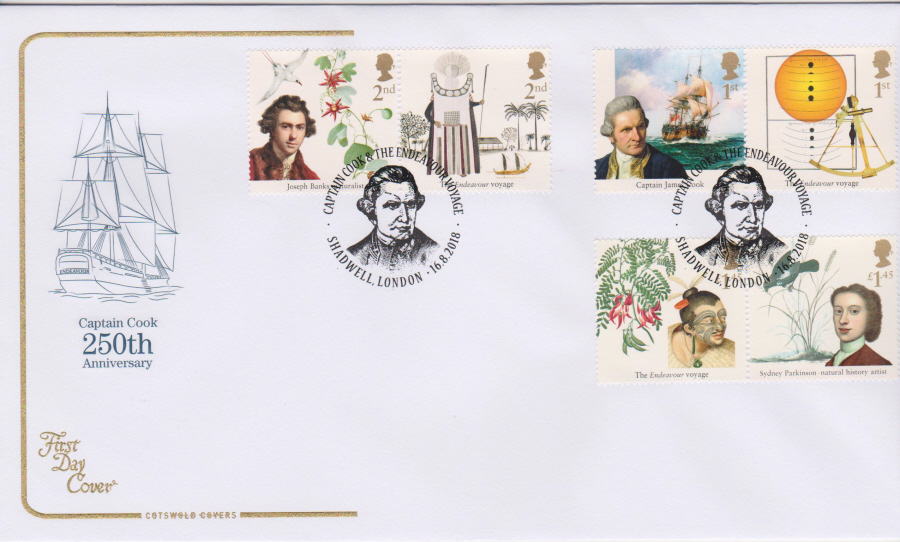 2018 Cotswold FDC - Captain Cook Set Shadwell London Postmark