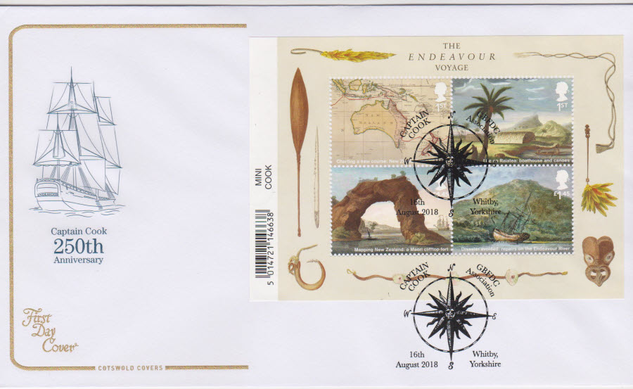2018 Cotswold FDC - Captain Cook Mini Sheet GBFDC Whitby Yorkshire Postmark