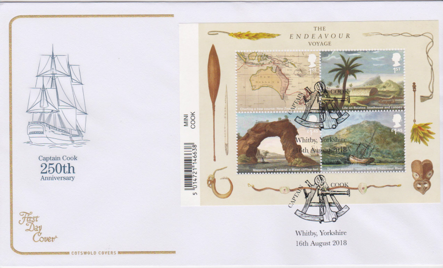 2018 Cotswold FDC - Captain Cook Mini Sheet Captain Cook Whitby Yorkshire Postmark