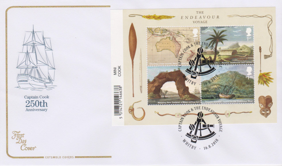2018 Cotswold FDC - Captain Cook Mini Sheet Voyage Whitby Postmark