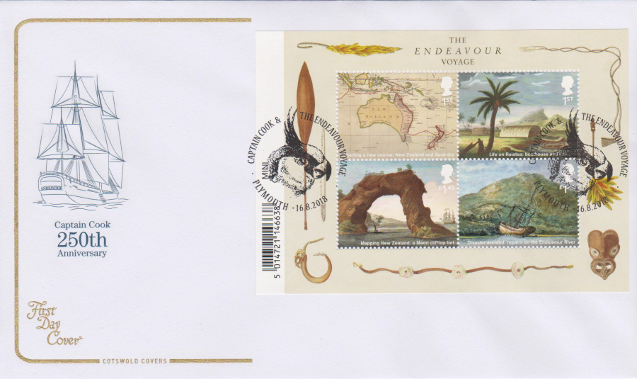2018 Cotswold FDC - Captain Cook Mini Sheet Voyage Plymouth Postmark