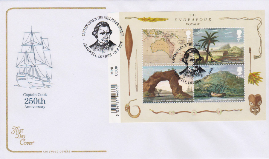 2018 Cotswold FDC - Captain Cook Mini Sheet Shadwell London Postmark