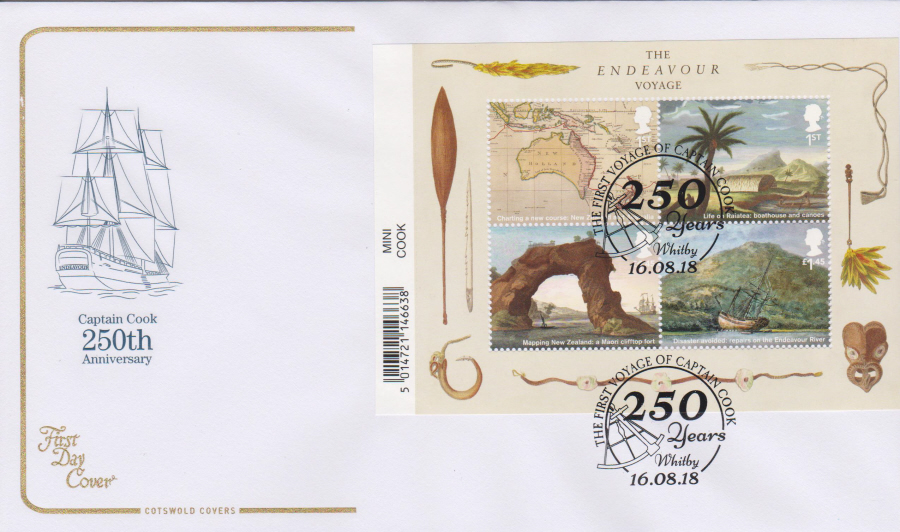 2018 Cotswold FDC - Captain Cook Mini Sheet 250 Years Whitby Postmark